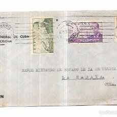 Sellos: SOBRE DE CONSULADO DE CUBA EN BARCELONA. A MINISTRO DE ESTADO DE LA REPUBLICA DE CUBA.. Lote 57337373