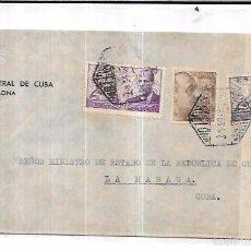 Sellos: SOBRE DE CONSULADO DE CUBA EN BARCELONA. A MINISTRO DE ESTADO DE LA REPUBLICA DE CUBA.. Lote 57337382