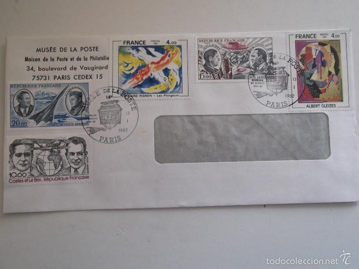 FRANCIA. SOBRE CON MATASELLO DEL MUSÉE DE LA POSTE Y CON SELLOS: 2137, 2168, A 44, 48 Y 55 PINTURAS (Sellos - Historia Postal - Sello Español - Sobres Circulados)