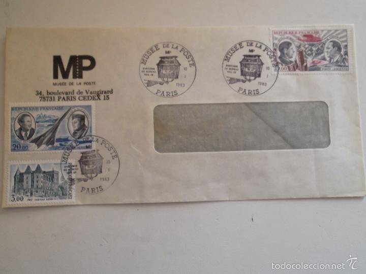 FRANCIA. SOBRE CON MATASELLO DEL MUSÉE DE LA POSTE Y CON SELLOS: 2195, A 44 Y 48 CASTILLO DE ENRIQUE (Sellos - Historia Postal - Sello Español - Sobres Circulados)