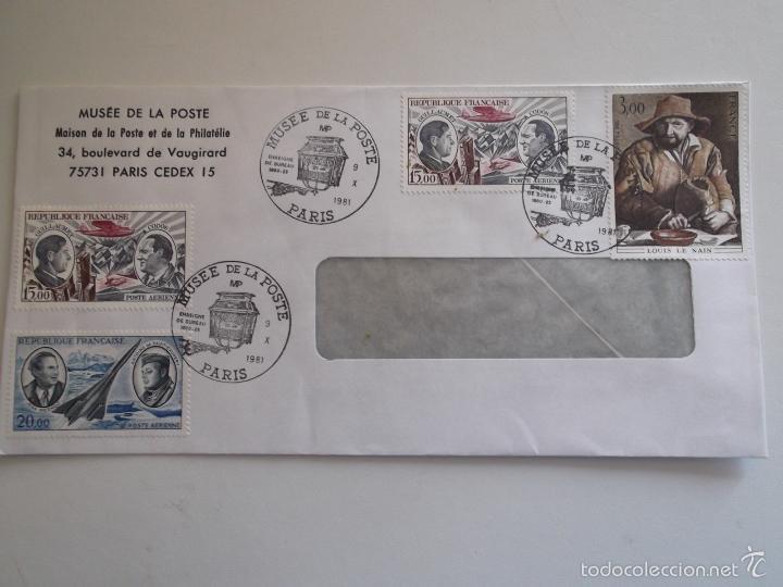 FRANCIA. SOBRE CON MATASELLO DEL MUSÉE DE LA POSTE Y CON SELLOS: 2108, A 44 Y 48 (DOS) PINTURAS DE L (Sellos - Historia Postal - Sello Español - Sobres Circulados)