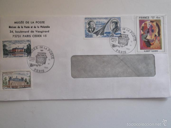 FRANCIA. SOBRE CON MATASELLO DEL MUSÉE DE LA POSTE Y CON SELLOS: 2111, 2135, 2137 Y A 44 CASTILLOS D (Sellos - Historia Postal - Sello Español - Sobres Circulados)