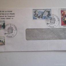 Sellos: FRANCIA. SOBRE CON MATASELLO DEL MUSÉE DE LA POSTE Y CON SELLOS: 2111, 2135, 2137 Y A 44 CASTILLOS D. Lote 58140285