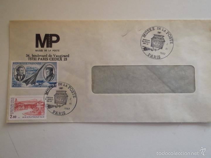 FRANCIA. SOBRE CON MATASELLO DEL MUSÉE DE LA POSTE Y CON SELLOS: 2194 Y A 44 AIX-EN-PROVENCE, AVIADO (Sellos - Historia Postal - Sello Español - Sobres Circulados)