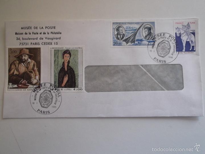 FRANCIA. SOBRE CON MATASELLO DEL MUSÉE DE LA POSTE Y CON SELLOS: 2108, 2109, 2115 Y A 44 PINTURAS (Sellos - Historia Postal - Sello Español - Sobres Circulados)