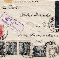 Sellos: 1939. CENSURA MILITAR OVIEDO MATASELLOS EXAGONAL SERVICIO AEREO CORREO CENTRAL.SOBRE CIRCULADO . Lote 58218466