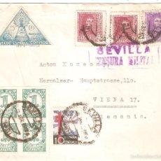 Sellos: SOBRE CIRCULADO SEVILLA AUSTRIA 1939 NUEVE SELLOS CENSURA MILITAR. Lote 58522903