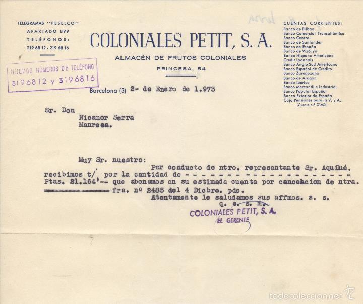 TELEGRAMA PESELCO - COLONIALES PETIT S.A. ALMACEN FRUTOS COLONIALES - COLMADO (Sellos - Historia Postal - Sello Español - Sobres Circulados)