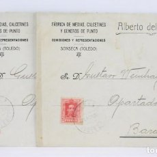 Sellos: 2 SOBRES CON MEMBRETE - FÁBRICA DE MEDIAS... ALBERTO DEL CASTILLO - SONSECA, TOLEDO - AÑO 1926. Lote 62329852