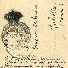 Sellos: 715 POSTAL - MELILLA - PUERTA SANTA BARBARA - FRANQUICIA MILITAR COMANDANCIA EXENTA ARTILLERÍA 1909. Lote 64767543