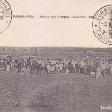 Sellos: MARRUECOS ESPAÑOL RARA TARJETA 1909 CORREO ESPAÑOL EN MARRUECOS CASABLANCA. FRANQUEO CADETE.. Lote 70542637