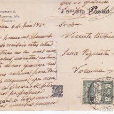 Sellos: ESTACION MZA RARO MATASELLOS EN TARJETA CIRCULADA 1930 EXPOSICION INTERNACIONAL BARCELONA A VALENCIA. Lote 71434731