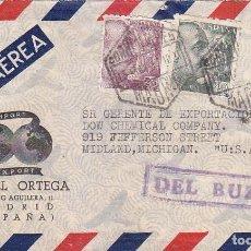 Sellos: RARA MARCA DEL BUZON EN CARTA COMERCIAL (MIGUEL ORTEGA) CIRCULADA 1945 MADRID-USA. DOBLE CENSURA.. Lote 71591655