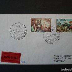 Sellos: SOBRE CIRCULADO- SERIE EUROPA -CEPT - MATASELLOS AMBULANTE. ZARAGOZA, MIRANDA-BILBAO -1976. R-4537. Lote 74380215