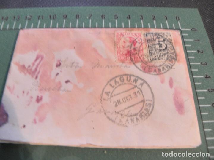 SOBRE CON CARTA SELLADA EN LA LAGUNA--CANARIAS (Sellos - Historia Postal - Sello Español - Sobres Circulados)