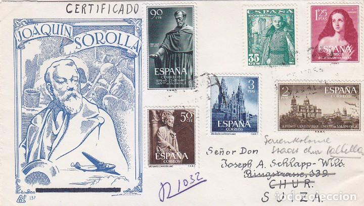 UNIVERSIDAD DE SALAMANCA AÑO SANTO COMPOSTELANO 1954 (EDIFIL 1130/31) CARTA CERTIFICADA A SUIZA RARA (Sellos - Historia Postal - Sello Español - Sobres Circulados)