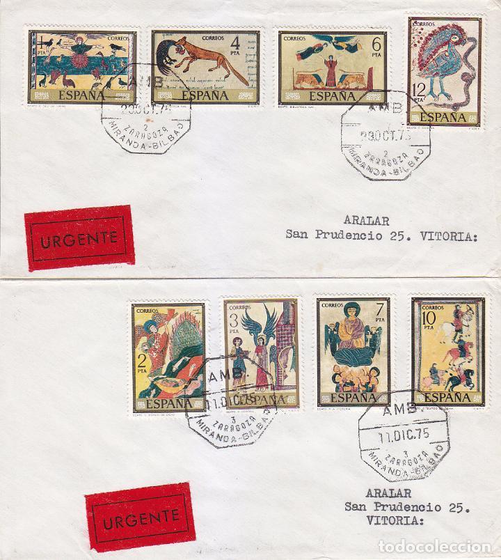CODICES DIA DEL SELLO 1975 (EDIFIL 2284/91) EN DOS CARTAS CIRCULADAS. AMBULANTE. MATASELLOS LLEGADA. (Sellos - Historia Postal - Sello Español - Sobres Circulados)