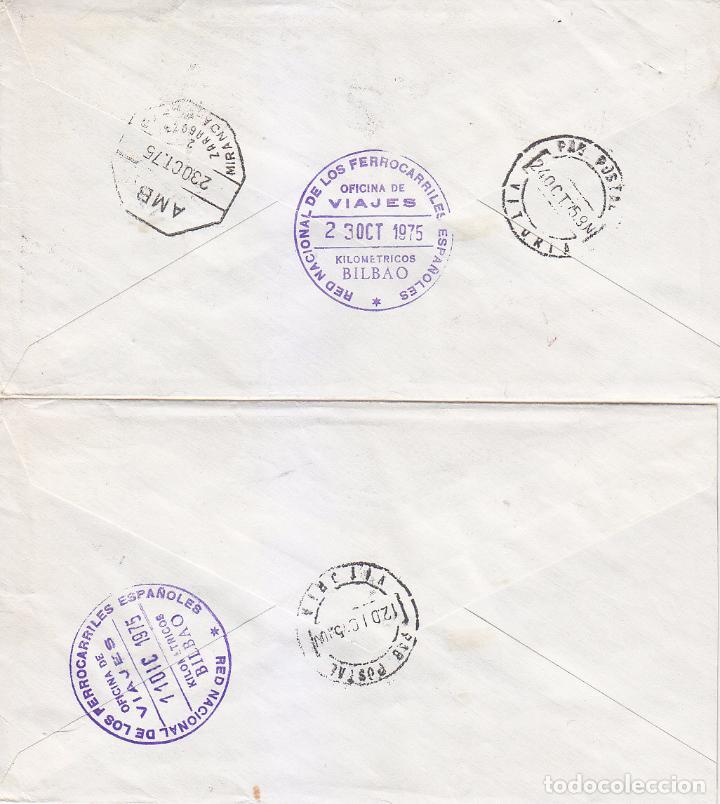 Sellos: CODICES DIA DEL SELLO 1975 (EDIFIL 2284/91) EN DOS CARTAS CIRCULADAS. AMBULANTE. MATASELLOS LLEGADA. - Foto 2 - 18787450