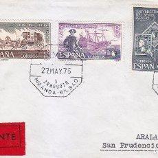 Sellos: 125 ANIVERSARIO DEL SELLO ESPAÑOL 1975 (EDIFIL 2232/35) EN CARTA CIRCULADA. AMBULANTE. LLEGADA. MPM.. Lote 54233056
