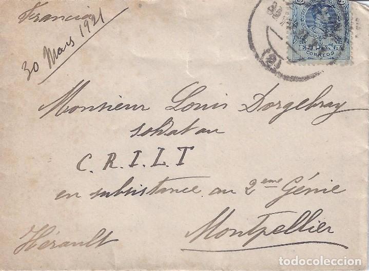 SOBRE CIRCULADO DESDE BARCELONA A MONTPELLIER (MATASELLOS 31-III-1921). (Sellos - Historia Postal - Sello Español - Sobres Circulados)