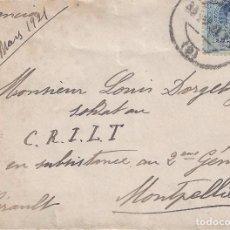 Sellos: SOBRE CIRCULADO DESDE BARCELONA A MONTPELLIER (MATASELLOS 31-III-1921).. Lote 81014552