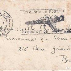 Sellos: SOBRE CIRCULADO A BRUSELAS CON MATASELLOS DE 1935.. Lote 81020488
