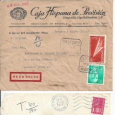 Sellos: 2 SOBRES CIRCULADOS: REEMBOLSO ESPAÑA Y FRANQUEO FRANCIA. AÑOS 1967 Y 1977. Lote 81937404