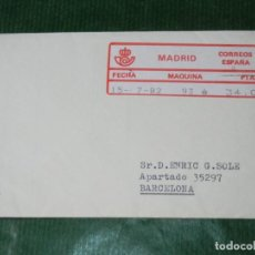 Selos: SOBRE CON ETIQUETA EPELSA 5 MADRID MAQUINA 93 CIRCULADA 1982 - RODILLO LLEGADA EN REVERSO. Lote 85443608