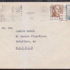 Sellos: VISITE SAN SEBASTIAN MAGNIFICA PLAYA MANIFESTACIONES ARTISTICAS RARO MATASELLOS RODILLO CARTA 1954.. Lote 85979428