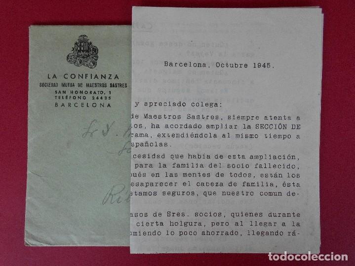 SOBRE CON CARTA, LA CONFIANZA, SOCIEDAD MUTUA DE MAESTROS SASTRES - BARCELONA, AÑO 1945 .. R-5889 (Sellos - Historia Postal - Sello Español - Sobres Circulados)