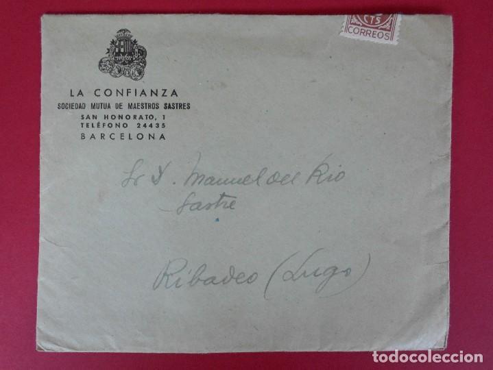 Sellos: SOBRE CON CARTA, LA CONFIANZA, SOCIEDAD MUTUA DE MAESTROS SASTRES - BARCELONA, AÑO 1945 .. R-5889 - Foto 2 - 86341772