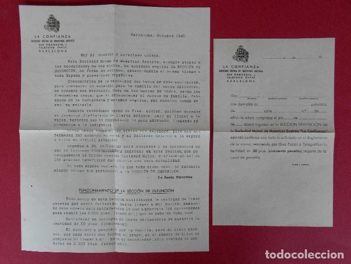 Sellos: SOBRE CON CARTA, LA CONFIANZA, SOCIEDAD MUTUA DE MAESTROS SASTRES - BARCELONA, AÑO 1945 .. R-5889 - Foto 3 - 86341772