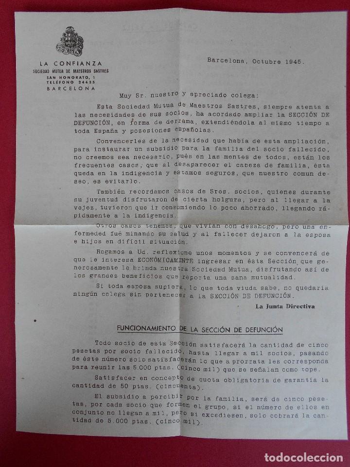 Sellos: SOBRE CON CARTA, LA CONFIANZA, SOCIEDAD MUTUA DE MAESTROS SASTRES - BARCELONA, AÑO 1945 .. R-5889 - Foto 4 - 86341772