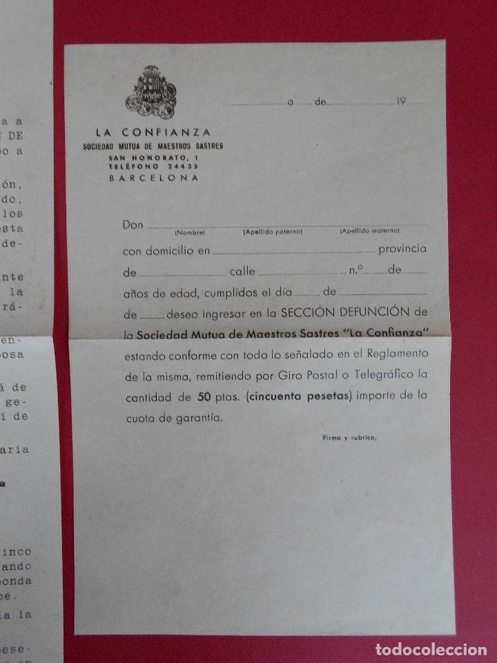 Sellos: SOBRE CON CARTA, LA CONFIANZA, SOCIEDAD MUTUA DE MAESTROS SASTRES - BARCELONA, AÑO 1945 .. R-5889 - Foto 5 - 86341772