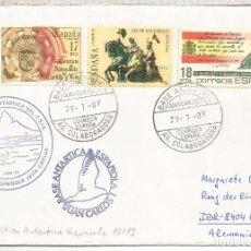 Timbres: 29.1.1989 CC DESDE LA BASE ANTARTICA ESPAÑOLA JUAN CARLOS I POLO SUR SOUTH POLE ANTARCTICA. Lote 90623180