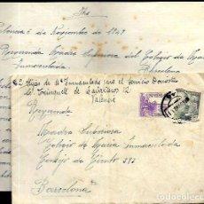 Sellos: SOBRE CIRCULADO CON CARTA - VALENCIA DEL CID AÑO 1949. Lote 92361875