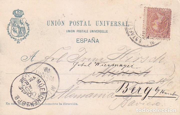 1899 ALFONSO XIII PELON MUY RARA TARJETA POSTAL VISTA BARCELONA CIRCULADA 1899 A ALEMANIA. LLEGADA. (Sellos - Historia Postal - Sello Español - Sobres Circulados)