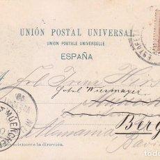 Sellos: 1899 ALFONSO XIII PELON MUY RARA TARJETA POSTAL VISTA BARCELONA CIRCULADA 1899 A ALEMANIA. LLEGADA. . Lote 95114751