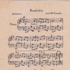 Sellos: MUSICA HABANERA EUSTOLIA DE JOSE MARIA FRANCES RARA TARJETA POSTAL CIRCULADA 1913 DE VIGO A ALEMANIA. Lote 95462567