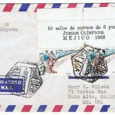 Sellos: SOBRE AÉREO CIRCULADO ESPAÑA-EE.UU. 1968. Lote 95758223