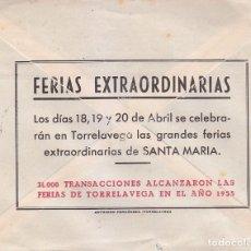 Sellos: SANTA MARIA FERIAS EXTRAORDINARIAS TORRELAVEGA (CANTABRIA) RARA PUBLICIDAD CARTA 1956 A BARCELONA.. Lote 98933955