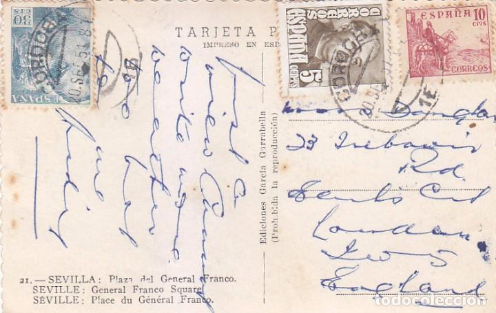 EL CID Y GENERAL FRANCO EN TARJETA POSTAL PLAZA SEVILLA CIRCULADA 1951 DE CORDOBA A INGLATERRA. (Sellos - Historia Postal - Sello Español - Sobres Circulados)