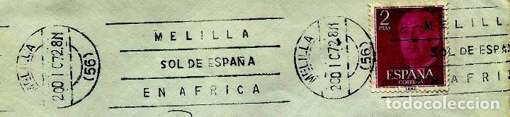 ESPAÑA MATASELLOS (ESTAFETA) MELILLA 1972 (RODILLO) (SOBRE) (Sellos - Historia Postal - Sello Español - Sobres Circulados)