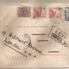Sellos: SOBRE CIRCULADO DE SEVILLA A LONDRES + 2 MARCAS CENSURA (ESPAÑOLA + INGLESA) 12/DIC/1939. Lote 101652855