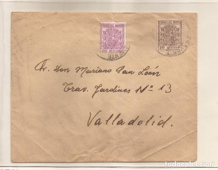 SOBRE CIRCULADO DE BENAVENTE A VALLADOLID FRANQUEO 10C MARRÓN MOVIL ESPECIAL Y 20C LILA (Sellos - Historia Postal - Sello Español - Sobres Circulados)