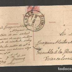 Sellos: POSTAL CIRCULADA 1908 DE TANGER A BARCELONA SELLO CORREO ESPAÑOL MARRUECOS MATASELLO. Lote 103681835