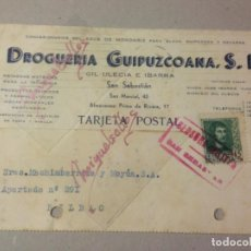 Sellos: TARJETA COMERCIAL-DROGUERÍA GUIPUZCOANA - AÑO 1938 -CENSURA MILITAR SAN SEBASTIAN ( GUIPUZCOA ) . Lote 103822871