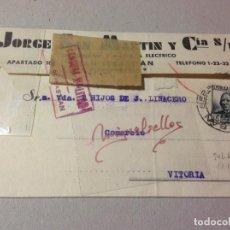 Sellos: TARJETA COMERCIAL-JORGE SAN MARTIN-1937 -CENSURA MILITAR SAN SEBASTIAN (GUIPUZCOA) SELLO REPÚBLICA. Lote 103823339