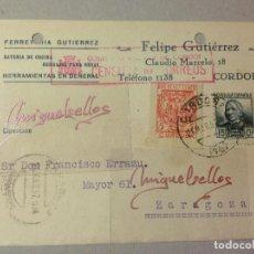 Sellos: TARJETA COMERCIAL- FERRETERÍA FELIPE GUTIERREZ -AÑO 1937 -CENSURA CORDOBA- SELLO REPÚBLICA Y LOCAL. Lote 103824779