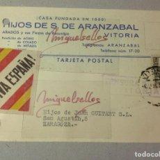 Sellos: TARJETA COMERCIAL- HIJOS DE S. DE ARANZABAL , ARADOS -AÑO 1937 -CENSURA MILITAR VITORIA (ALAVA). Lote 103825183